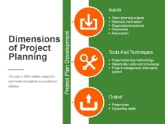 Dimensions Of Project Planning Ppt PowerPoint Presentation Ideas
