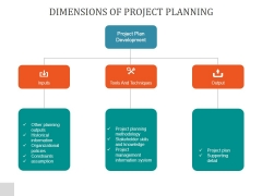 Dimensions Of Project Planning Ppt PowerPoint Presentation Outline