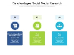 Disadvantages Social Media Research Ppt PowerPoint Presentation Icon Deck Cpb Pdf