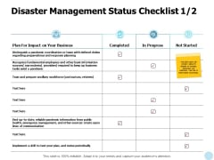 Disaster Management Status Checklist Communication Ppt PowerPoint Presentation Icon Example File