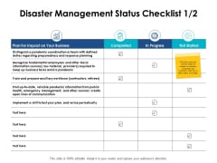 Disaster Management Status Checklist Growth Ppt PowerPoint Presentation Styles Good