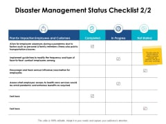 Disaster Management Status Checklist Progress Ppt PowerPoint Presentation Icon Structure