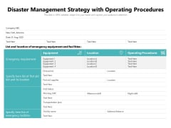 Disaster Management Strategy With Operating Procedures Ppt PowerPoint Presentation Gallery Vector PDF