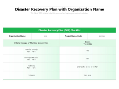 Disaster Recovery Plan With Organization Name Ppt PowerPoint Presentation Gallery Elements PDF