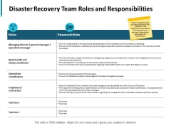 Disaster Recovery Team Roles And Responsibilities Ppt PowerPoint Presentation File Slide Portrait