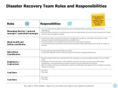 Disaster Recovery Team Roles And Responsibilities Ppt PowerPoint Presentation Summary Examples