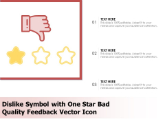 Dislike Symbol With One Star Bad Quality Feedback Vector Icon Ppt PowerPoint Presentation Ideas Slides PDF