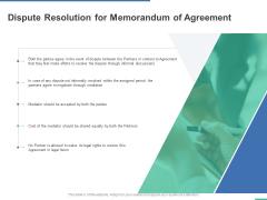 Dispute Resolution For Memorandum Of Agreement Ppt PowerPoint Presentation Portfolio Infographics