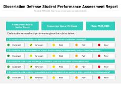 Dissertation Defense Student Performance Assessment Report Ppt PowerPoint Presentation File Outline PDF