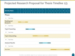 Dissertation Research Projected Research Proposal For Thesis Timeline Topic Ppt Inspiration Summary PDF