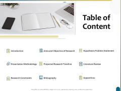 Dissertation Research Table Of Content Ppt Professional Graphics Download PDF