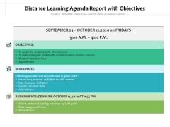 Distance Learning Agenda Report With Objectives Ppt PowerPoint Presentation Layouts Picture PDF