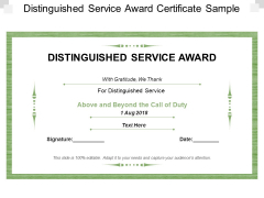 Distinguished Service Award Certificate Sample Ppt PowerPoint Presentation Model Templates