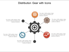 Distribution Gear With Icons Ppt PowerPoint Presentation Inspiration Icon PDF
