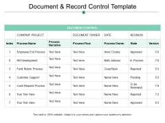 Document And Record Control Template Ppt PowerPoint Presentation Guidelines