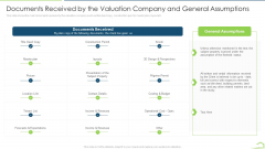 Documents Received By The Valuation Company And General Assumptions Budget Microsoft PDF