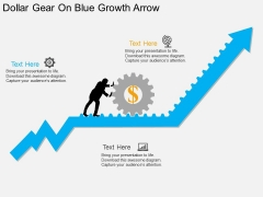Dollar Gear On Blue Growth Arrow Powerpoint Template