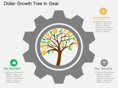 Dollar Growth Tree In Gear Powerpoint Templates