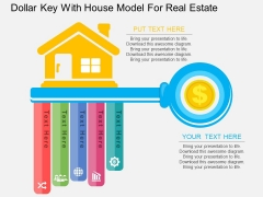Dollar Key With House Model For Real Estate Powerpoint Template