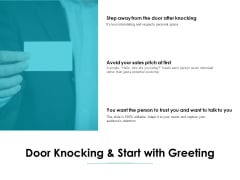 Door Knocking And Start With Greeting Ppt PowerPoint Presentation Professional Sample