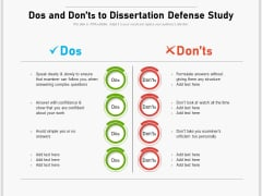 Dos And Donts To Dissertation Defense Study Ppt PowerPoint Presentation Gallery Designs PDF