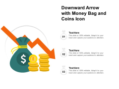 Downward Arrow With Money Bag And Coins Icon Ppt PowerPoint Presentation File Graphics Tutorials PDF