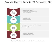 Downward Moving Arrow In 100 Days Action Plan Ppt PowerPoint Presentation Layouts Maker