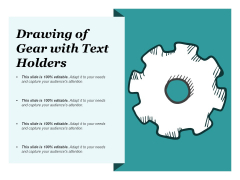 Drawing Of Gear With Text Holders Ppt PowerPoint Presentation Infographics Brochure