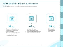 Driving Digital Transformation Through Kubernetes And Containers 30 60 90 Days Plan In Kubernetes Template PDF