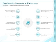 Driving Digital Transformation Through Kubernetes And Containers Best Security Measures In Kubernetes Template PDF