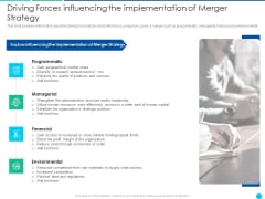 Driving Forcesinfluencing Theimplementation Of Merger Strategy Summary PDF