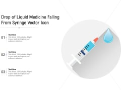 Drop Of Liquid Medicine Falling From Syringe Vector Icon Ppt PowerPoint Presentation Summary Maker PDF