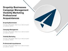 Dropship Businesses Campaign Management Visibility Marketing Professional Acquaintances Ppt PowerPoint Presentation Icon Slides