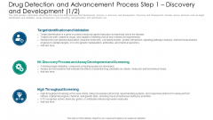Drug Detection And Advancement Process Step 1 Discovery And Development Targets Formats PDF