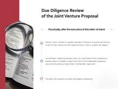 Due Diligence Review Of The Joint Venture Proposal Ppt PowerPoint Presentation Portfolio Graphics Pictures