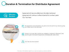 Duration And Termination For Distributor Agreement Ppt PowerPoint Presentation Slides Outfit