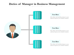 Duties Of Manager In Business Management Ppt PowerPoint Presentation File Slides PDF