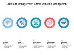 Duties Of Manager With Communication Management Ppt PowerPoint Presentation File Objects PDF