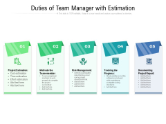 Duties Of Team Manager With Estimation Ppt PowerPoint Presentation Gallery Objects PDF