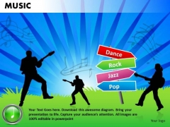 Dance Rock Jazz Pop Music PowerPoint Templates Editable Ppt Slides