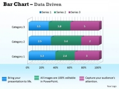 Data Analysis In Excel 3d Bar Chart For Business Information PowerPoint Templates