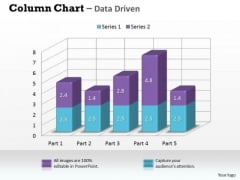 Data Analysis In Excel 3d Column Chart For Market Surveys PowerPoint Templates
