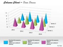 Data Analysis In Excel Column Chart For Business Project PowerPoint Templates