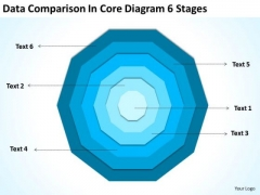 Data Comparison In Core Diagram 6 Stages Bussiness Plan PowerPoint Templates