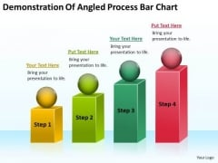 Demonstration Of Angled Process Bar Chart Help Me Write Business Plan PowerPoint Slides