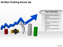 Develop Business Strategy 3d Man Pushing Arrow Up Concept