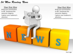 Develop Business Strategy 3d Man Reading News Concepts
