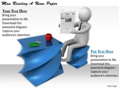 Develop Business Strategy 3d Man Reading News Paper Concepts