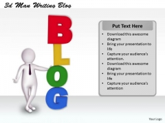 Develop Business Strategy 3d Man Writing Blog Basic Concepts