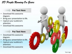 Develop Business Strategy 3d People Running On Gears Basic Concepts
